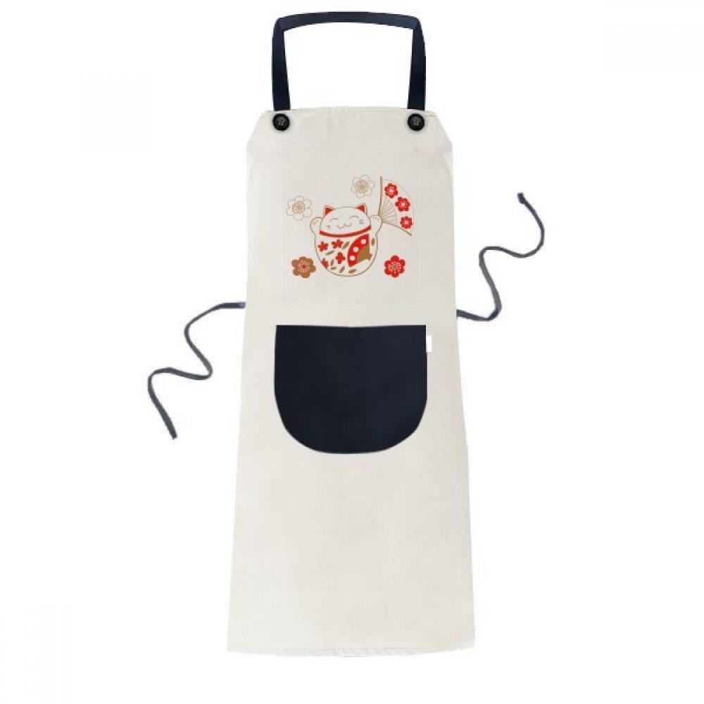 Lucky Fortune Cat Flowerファン日本料理キッチンベージュ調節可能なよだれかけエプロンポケットレディースメンズシェフギフト   B0775ZVWX1