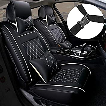 Universal for 5 Seat Vehicle Waterproof Full Set PU Leather Custom Seat Cushion Suitable for Sedan SUV Truck Fit for Most 5 Seat Car(Black/&White Line PDR Car Seat Covers