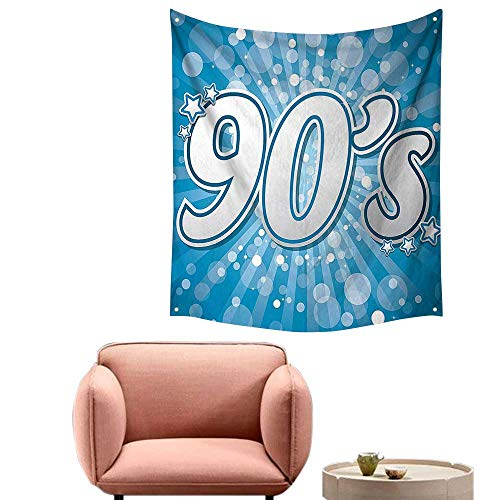 alsohome Tapestry Blanket Hanging Tapestry for Bedroom 90S Letter and Stars On Striped Background with Circles Party Celebration Themed Art 60
