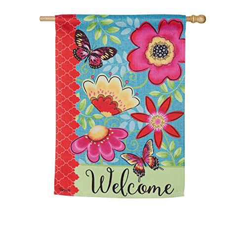 Evergreen Flag Butterflies and Flowers Suede House Flag, 29 x 43 (Evergreen Butterfly House)