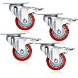 3'' PVC Heavy Duty Swivel Caster Wheels 360 Degree Top Plate with Brake Pack of 4 - Red (880Lbs)