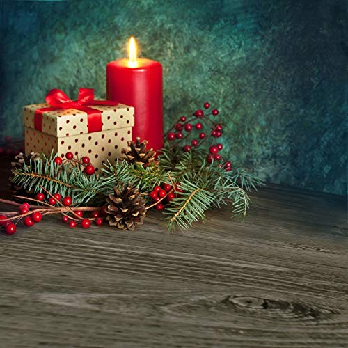 Leyiyi 10x10ft Photography Background Merry Christmas Backdrop Happy New Year Xmas Holiday Vintage Grunge Wall Candle Red Berry Pine Nut Needle Pine Gift Rustic Floor Photo Portrait Vinyl Studio Prop