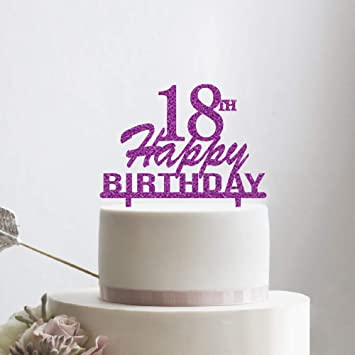 KISKISTONITE Happy 18th Birthday Cake Topper Purple Glitter Hello BirthdayAnniversary Party Decoration