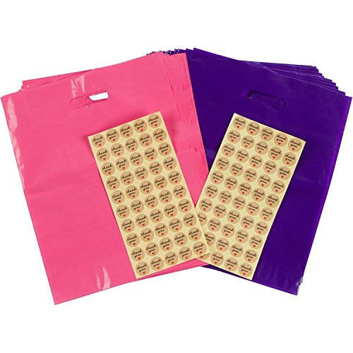100 Merchandise Bags + 100 ''Thank You'' Stickers 12X15 EXTRA THICK 2 MIL Glossy Plastic Merchandise Shopping Bags with Handle, Pink Purple by Lady Bird