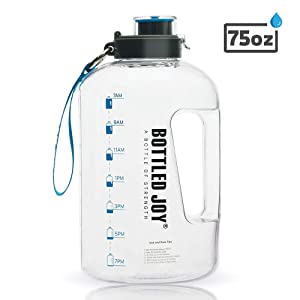 BOTTLED JOY 2.2L Water Bottle, BPA Free 75oz Large Water Bottle Hydration with Motivational Time Marker Reminder Leak-Proof Drinking Half Gallon Water Bottle for Camping Sports Workouts and Outdoor