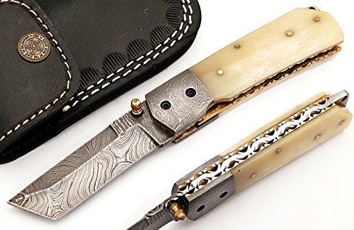 WT-5125-B Custom hand made damascus steel blade gorgeous folding hunting knife,