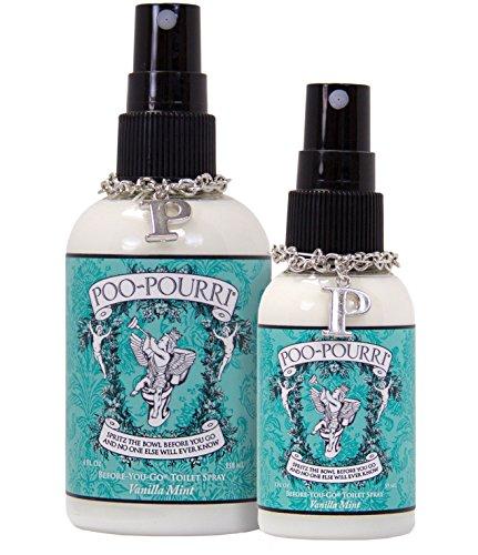 Poo-Pourri 2-Piece Before-You-Go Toilet Spray Bottle Set, 2 and 4-Ounce, Vanilla Mint