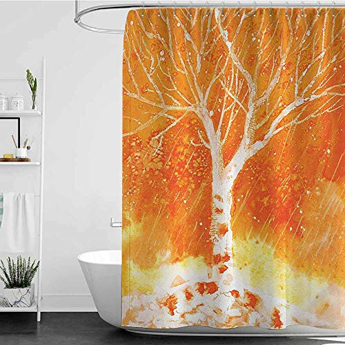 - homecoco Shower Curtains Paisley Fall Tree Decor,Murky Original Hand Drawn Painting with Birches and Rain Drops Hazy Habitat,Orange W48 x L84,Shower Curtain for clawfoot tub