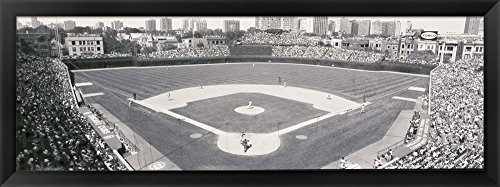 Wrigley Field in black and white, USA, Illinois, Chicago by Panoramic Images Framed Art Print Wall Picture, Black Frame with Hanging Cleat, 38 x 14 inches
