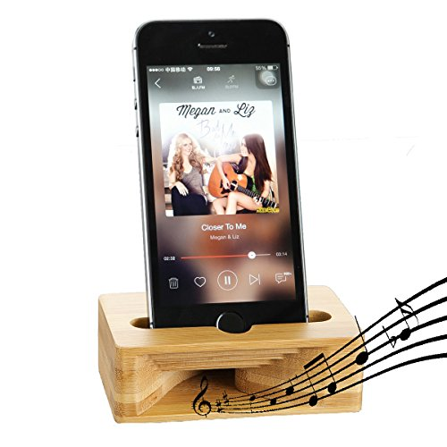 Cell Phone Stand, Fanshu Desktop Mobile Phone Holder Amplifier, Universal Portable Wood Cellphone Dock on Desk Bamboo Bed Stand Mount Cradle for iPhone 5 6s 7s 8s Plus X XS Android Samsung Smartphone