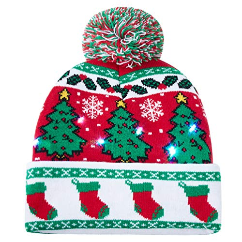 Uideazone Light Up Hat Christmas Socks Printed Flashing Beanie Cap Winter Snow Sweater Ugly Hat Beanies -