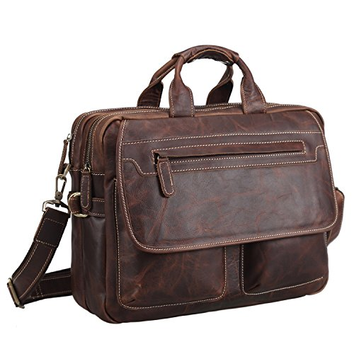 Polare Genuine Soft Leather Rustic Mens Briefcase Bag Fit 15.6'' Laptop by polare