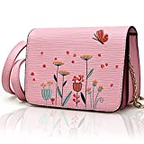 Shoulder Bag for Women, Pershoo Small Crossbody Bag Elegant Flower Embroidery Suqare Package, Leather Messenger Bag Small Clutch Handbag Cell Phone Case Coin Pouch Travel Wallet Purse Sling Bag - Pink