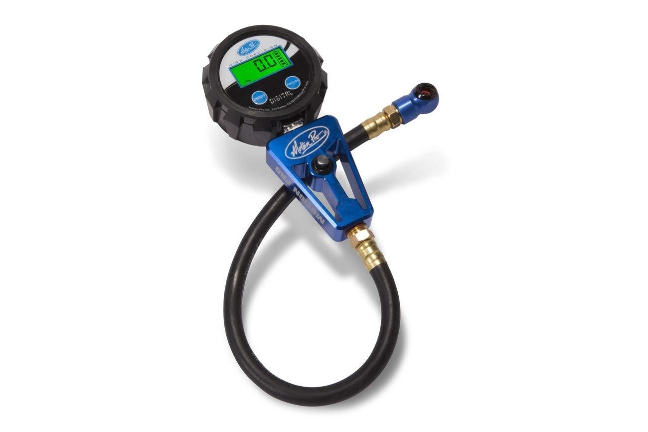 Motion Pro Digital Tire Pressure Gauge 15 Inch Long High Pressure Hose Includes Batteries 08-0684