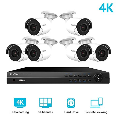 (LaView 8 Channel Ultra HD 4K Home Security Camera System with 6 x 8MP IP Bullet Cameras, 100ft Night Vision, Weatherproof Expandable Surveillance Camera System NVR 2TB HDD)