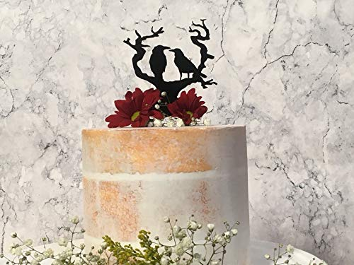 Cake Topper Raven Gothic Cake Decor Halloween Decoraion Nevermore Black Crow Decoration Acrylic Available In 15 Colors -