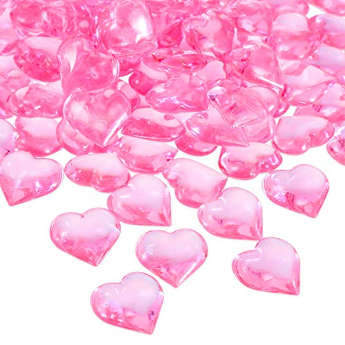 Tatuo 160 Pieces Acrylic Heart Decoration Valentine's Day Heart Ornaments for Vase Fillers and Table Scatter, 0.9 Inch (Pink) (Valentine Decorations Table)