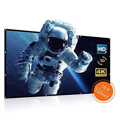 VANKYO Projector Screen 100 Inches 16:9 Portable Indoor Outdoor Projection Polyester Spandex Movie Screen Foldable Wall Mounted with Peel and Hooks