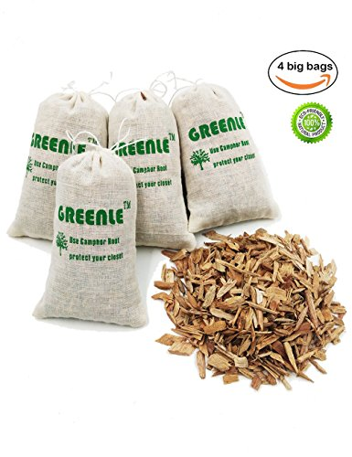 Moth Repellent Sachets With Natural Camphorwood Root Chips Shaving Anti Moth for Closets Clothes Freshener Drawers Storage Accessories Pack of 4 Large Bags ... (Blocks Cedar Moths)