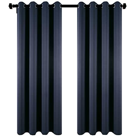 DOOYEE Room Darkening Blackout Grommet Top Elegant Thermal Insulated Energy Saving Window Curtains for Bedroom,2 Panels with 2 Tiebacks,W52 by L84 Navy Blue