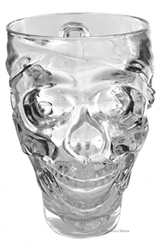 Extra Large 30oz Clear Glass Skull Pilsner Pub Pint Halloween Beer Glass -
