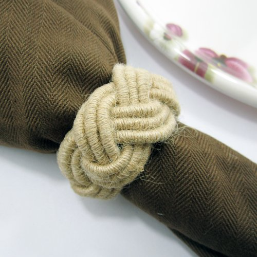 worldexplorer Set of 12 Classic Braided Jute Burlap Napkin Rings, Various Colors (natural)