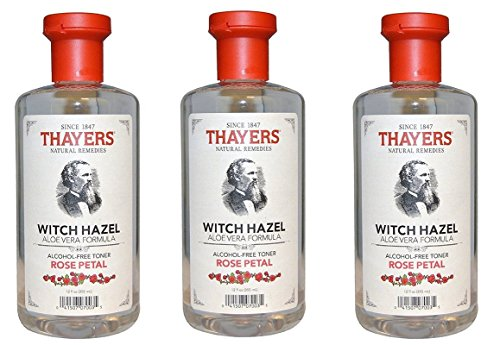Witch Hazel Alcohol (Thayers Alcohol-free Rose Petal Soothing Witch Hazel for Face & Skin with Aloe Vera, 12 oz (Pack of 3))