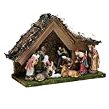 Kurt Adler 9-1/2-Inch Musical LED Nativity Set with Figures and Stable