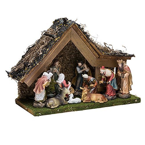 - Kurt Adler 9-1/2-Inch Musical LED Nativity Set with Figures and Stable
