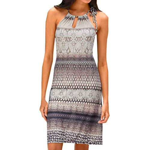 2d90ea1dbb TANGSen Women Halter Neck Boho Print Dress Sleeveless Casual Mini Beachwear  Summer Fashion Dress Sundress(