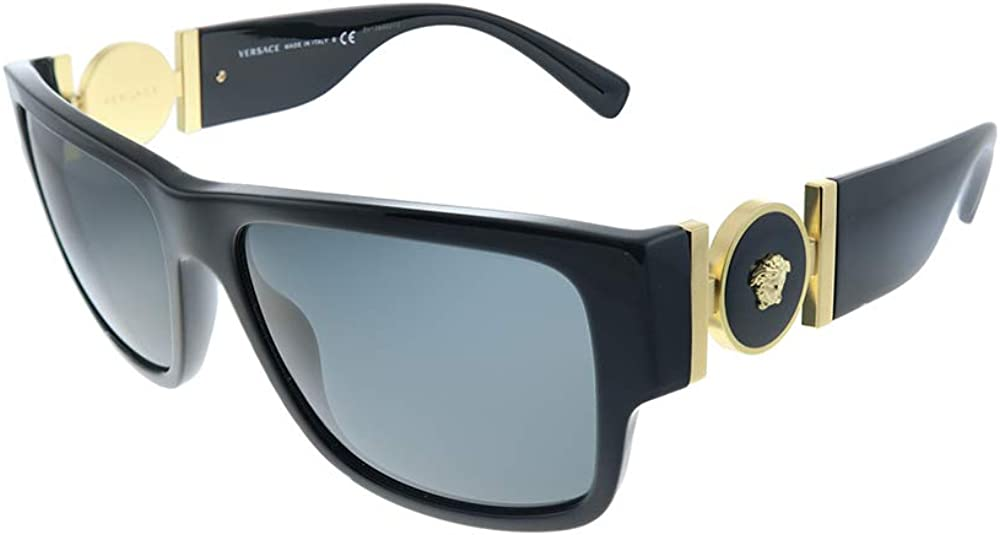Versace VE 4369 GB1/87 Black Plastic Rectangle Sunglasses Grey Lens