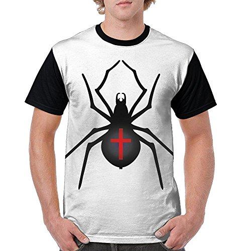 HenSLK Men Halloween Spider Novelty Casual Crew Neck Short Sleeve Raglan Baseball T-Shirt Gift -