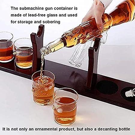 AMAZOM Juego De Jarra De Whisky AK47 con 4 Vasos De Bala, Elegante Jarra De 800 Ml Y Base De Madera para Todos Los Licores Espirituosos, para Vino, Licor, Escocés, Vodka Bourbon