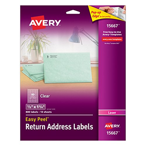Avery Clear Easy Peel Return Address Labels for Laser Printers 1/2' x 1-3/4', Pack of 800 (15667)