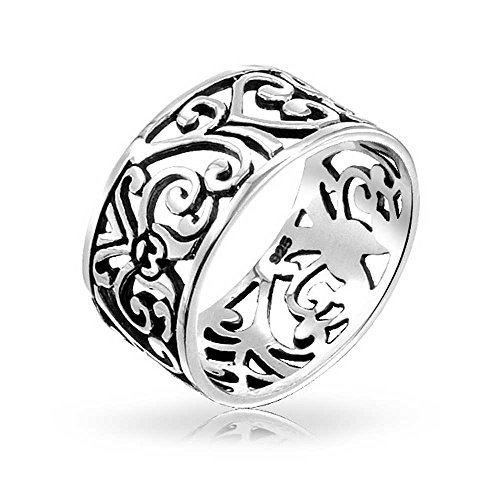 Ring Swirl Open (Boho Fashion 925 Sterling Silver Open Swirl Filigree Wide Band Ring For Teen For Women 7MM)