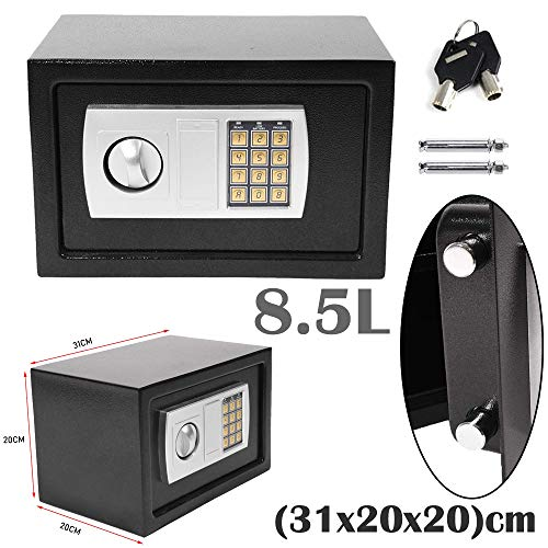 8.5L Black Secure Digital Steel Safe Electronic High Security Home Office Money Cash Safety box (31x20x20) cm