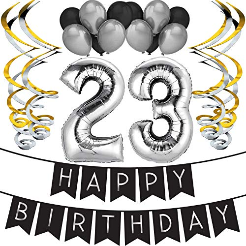 23rd Birthday Party Pack - Black & Silver Happy Birthday Bunting, Balloon, and Swirls Pack- Birthday Decorations - 23rd Birthday Party Supplies]()