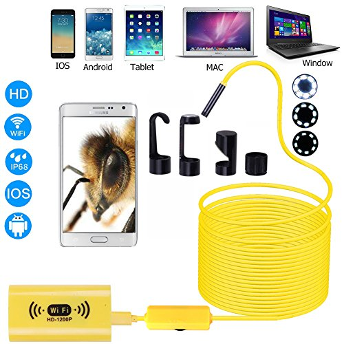 Wireless Endoscope 1200P WIFI Borescope for iPhone/ Android, 8mm Inspection HD Camera Waterproof Semi-rigid Snake Cable for IOS/MAC/Windows Yellow 5M(16.4FT)