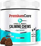 Image of PREMIUM CARE Calming Treats for Dogs - Made in USA - Aids Stress, Anxiety, Storms, Barking, Separation and More - Organic Kelp + Valerian Root Soft Chews - 120 Count Dog Calming Treats