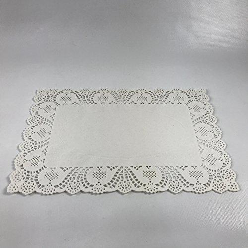 (Pack of 50) Black Cat Avenue 10'' x 14 1/2'' Disposable White Rectangular Lace Paper Doilies by Black Cat Avenue (Image #1)