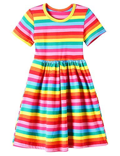 LaChica Girls' Cotton Short Sleeve Skater Party Twirly Dress for Girls Rainbow