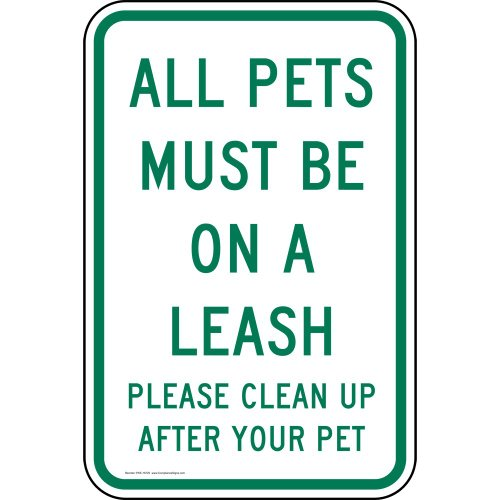 ComplianceSigns Vinyl Pets / Pet Waste label, Reflective 18 x 12 in. with Pet Rules info in English, White (Yard Waste Label)