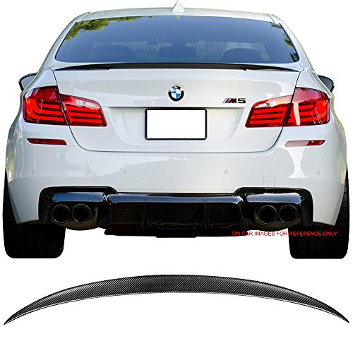 Pre-painted Trunk Spoiler Fits 2011-2016 BMW 5-Series F10 | Performance Style Matte Carbon Fiber (CF) Rear Tail Lip Deck Boot Wing Other Color Available by IKON MOTORSPORTS | 2012 2013 2014 2015