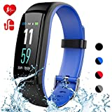 Mgaolo Fitness Tracker Smart Watch,Activity Health Tracker Waterproof Fit Band with Blood Pressure Heart Rate Bit Sleep Monitor Pedometer Step Calorie Counter for Fitbit Android and iPhone (Blue)