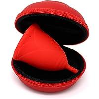 Estuche SileuCase para copas menstruales – Ideal para llevar tu tampón o copa menstrual de forma elegante y discreta en tu bolso o para viajes (Pequeño 8 cm, Rojo)