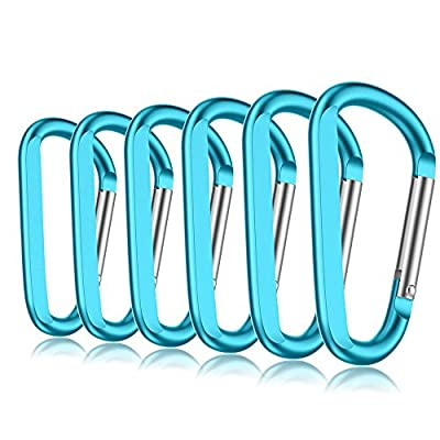 "6PCS 3"" Aluminum Carabiner Keychain Clip with Keyring, Light Durable Round Shape Nonlocking Caribeaner Hook Buckle for Outdoor Camping EDC Key Chain Ring"