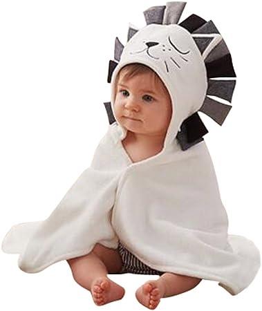 Camisón de la historieta animal para pijamas de franela con capucha bebé niñas niños Homewear Pijama Niños Suave Albornoz león Talla:78*58