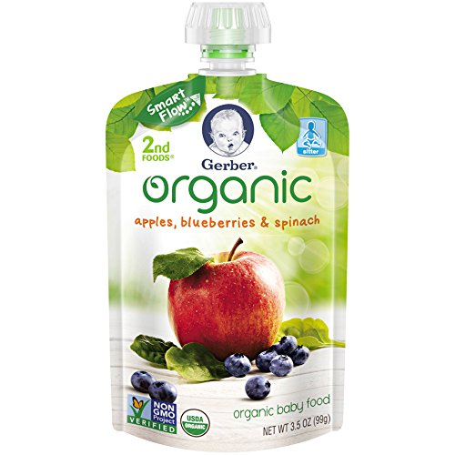 Gerber Organic 2nd Foods Baby Food, Apples, Blueberries & Spinach, 3.5 oz Pouch, 12 count (Organic 2nd Foods Apple)