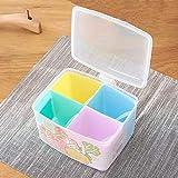 Waineg Household Kitchen 4 Grid Seasoning Box Creative Plastic Clamshell Spice Box Detachable with Spoon Seasoning Jar Set 14cm X 11cm X 10cm