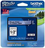 """Genuine Brother 1/2"""" (12mm) Black on Clear TZe P-touch Tape for Brother PT-2700, PT2700 Label Maker with FREE TZe Tape Guide Included"""